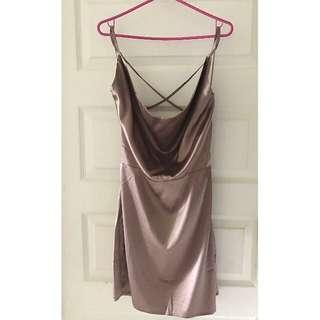 Plunging Neckline Satin Dress (Fashion Nova)