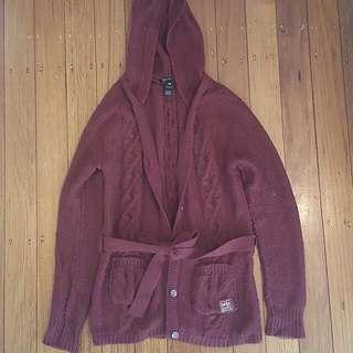 Billabong Maroon Knit Jacket Size 10