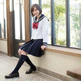 Authentic premium quality summer long sleeved Sailor uniform Japanese school uniform cosplay