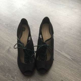 Charles And Keith Sheer/suede Ankle Boots