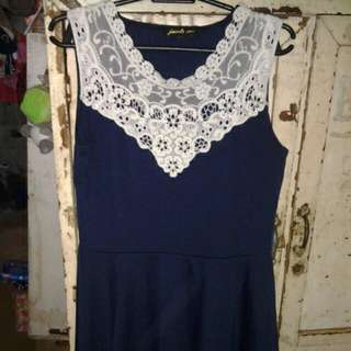 Navy Blue With White Lace Detail Dress
