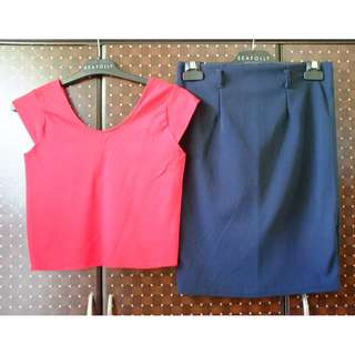 Set: Red Top and Navy Blue Skirt