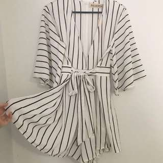 Reverse label black and white striped playsuit