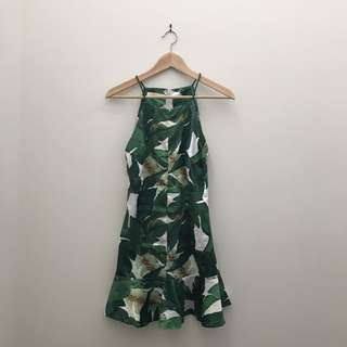 Leafy Patterned Silky Dress