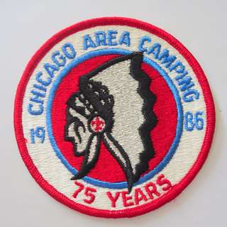 Retro 1980's Scout Badges, Rare Military Patches, Vintage Collectibles, Chicago Area Camping 1986, 75 years Indian Head, from USA, Limited Edition