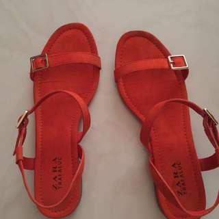 Zara橘色涼鞋
