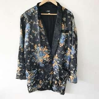 Floral Vintage Silk Blazer