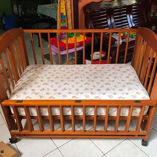 Wooden Crib and Matress
