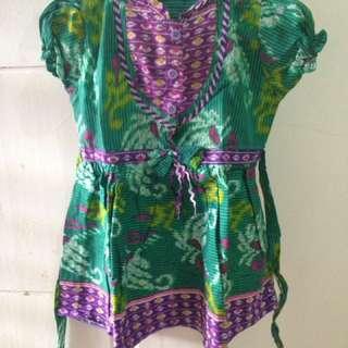 Sale..!! Dress Batik Hijau Ungu