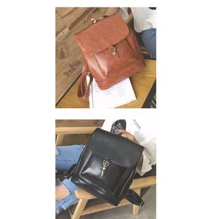 Korean Style Classic Leather Backpack