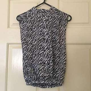 Vintage Sleeveless Button Up Zebra Blouse Size 6