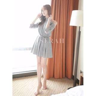 Gray Cut Out Shoulder Halter Neck Dress