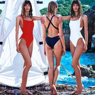 one piece backless cross back swimsuit
