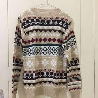 Sweater Rajut Light Brown Tribal Size M