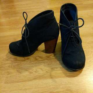 Blue Suede Heeled Boots