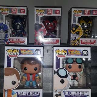 2 Set Of Funko POP! Vinyls - Transformers & Back To The Future
