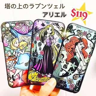 🎉慶週年優惠🎉 迪士尼 美人魚 長髮公主 愛麗絲 玻璃紋 全包防撞 iphone6 6s 7 4.7 5.5 軟邊殼