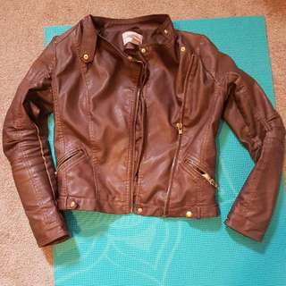 Brown Faux Leather Forever 21 Jacket. Size S