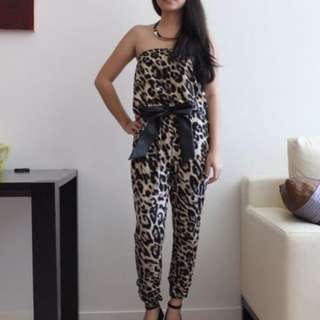 Zara Animal Print Strapless Jumpsuit