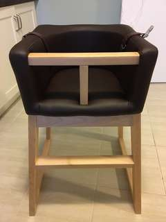 Tavo High Chair - Monte Design Brown Bonded Leather with Maple Wood Base