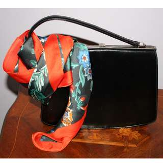 Vintage black leather purse handbag by Paragon - 1960's -