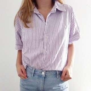 Purple Pinstripe Button Up