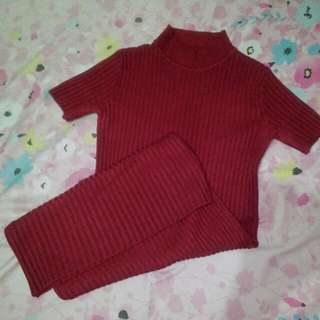 Red Knitted (body con) Turtle Neck Dress