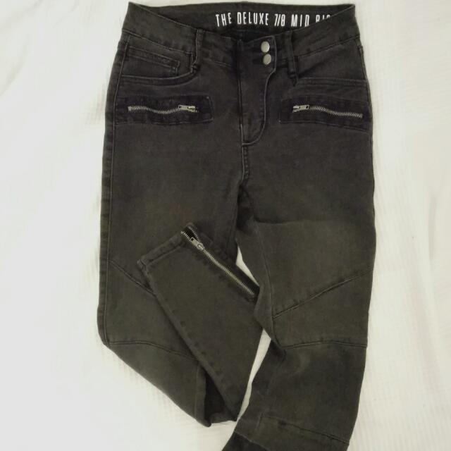 7/8 Mid Rise Biker Style Jeans