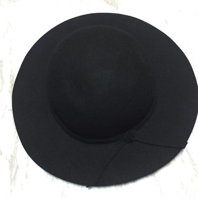 圓頂中帽簷蝴蝶結法式羊毛帽