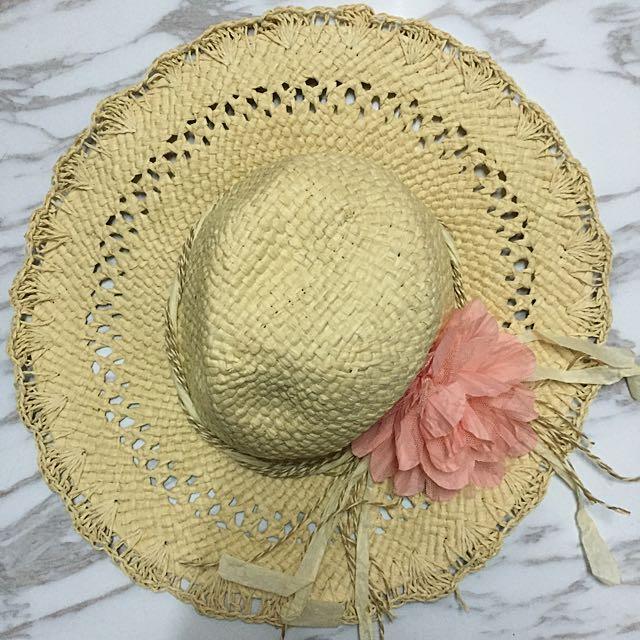 大帽沿度假風渡假花朵-編織草帽
