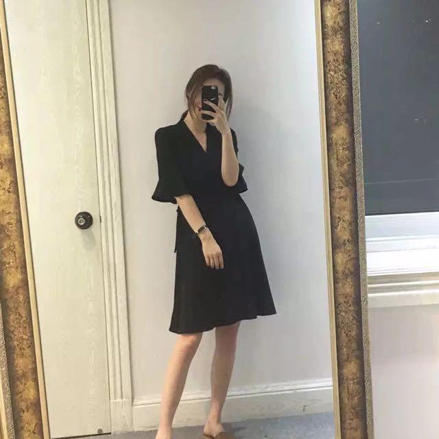 氣質黑色綁帶洋裝