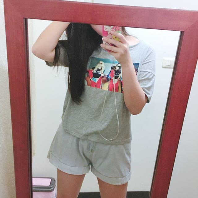 歐美辣妹膠印上衣 T恤 #一百元上衣