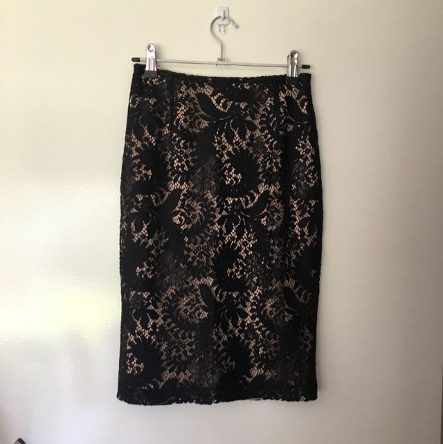 Alannah Hill Black And Beige Lace Pencil Skirt