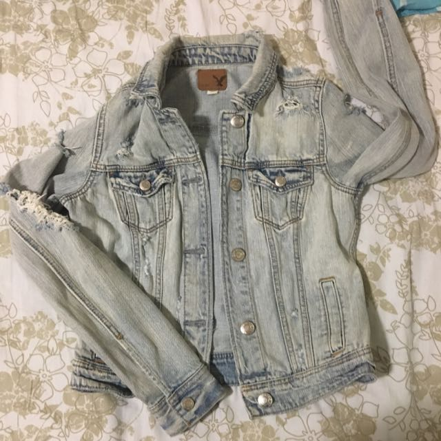 American Eagle Acid Ripped Denim Jacket