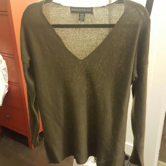 Army Green Knit Sweater Size Med