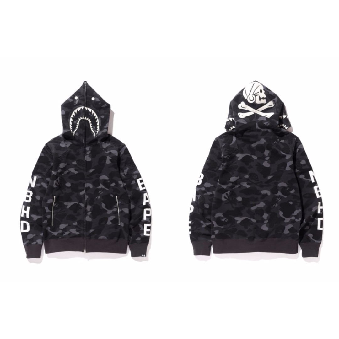 b4d7e401e Bape x Neighborhood Shark Full Zip Hoodie, Men's Fashion, Clothes on ...