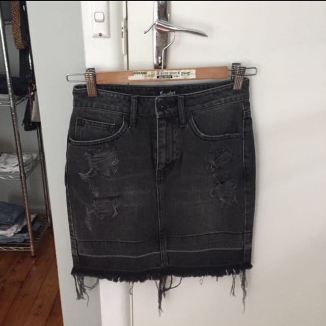 Bardot Distressed Black Denim Skirt