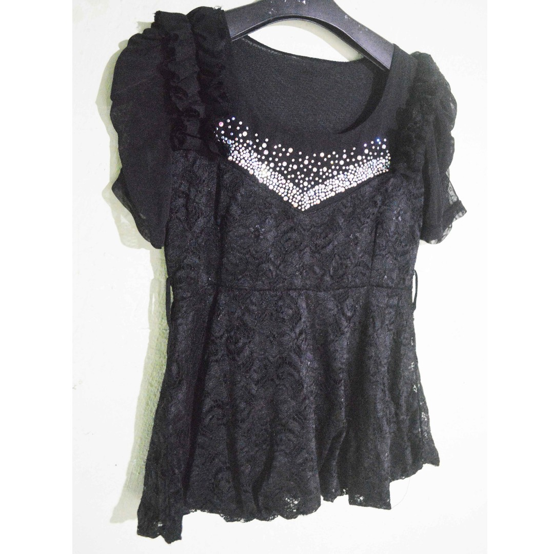 black brokat top