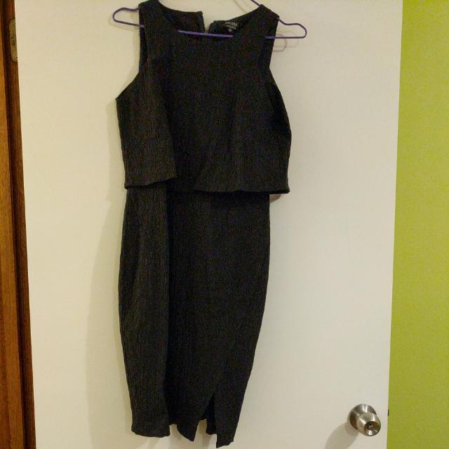 Black Jacquard Overlay Dress