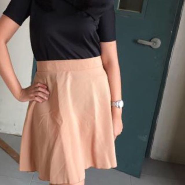 Brown / Cream Flare Skirt