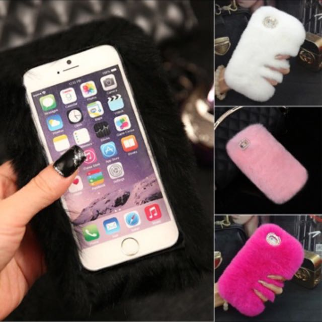 Cell Phone Cases For Apple iPhone 7plus Fur Diamond Bling Warm Smooth Luxury Soft Girl Boy Back Protective Cover