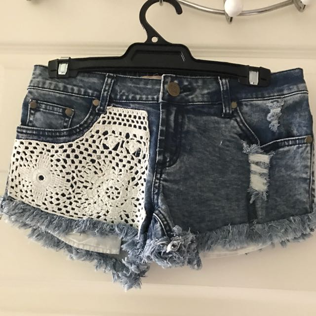 Crochet Denim Shorts