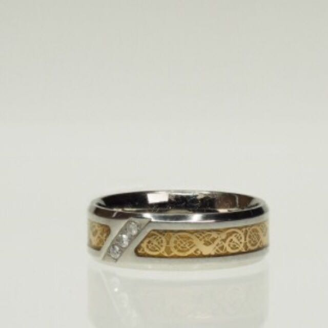 Diamond Stainless Steel Gold Tone