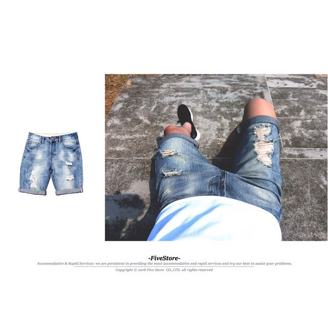 【F49】石洗破壞牛仔短褲 春夏 百搭