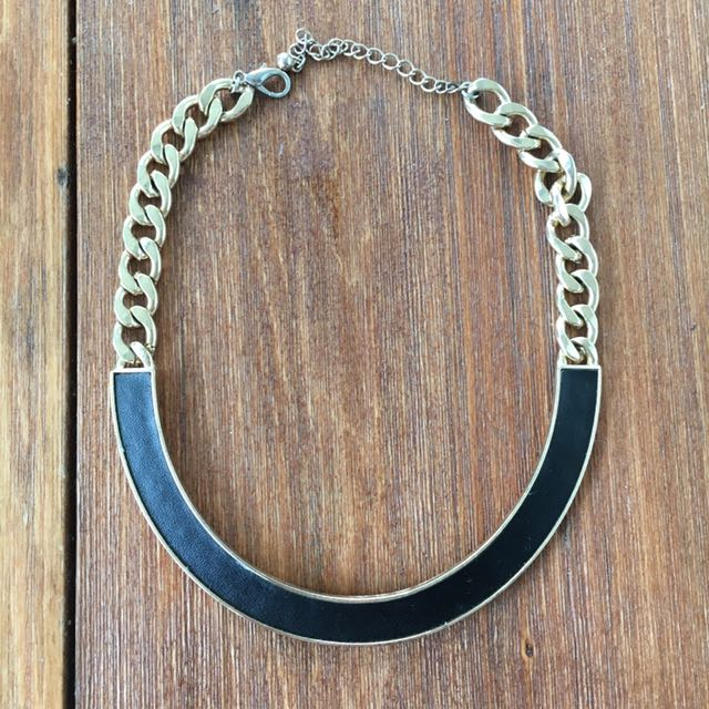 Faux Black Leather & Gold Chain Necklace