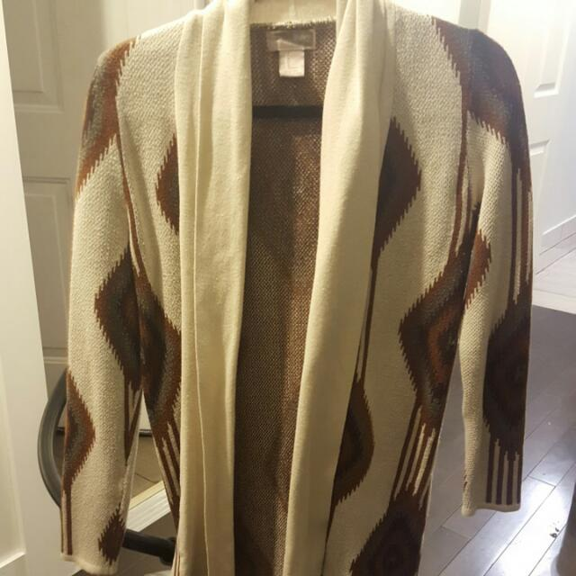 Forever21 Knit Cardigan with Aztec type pattern Size S