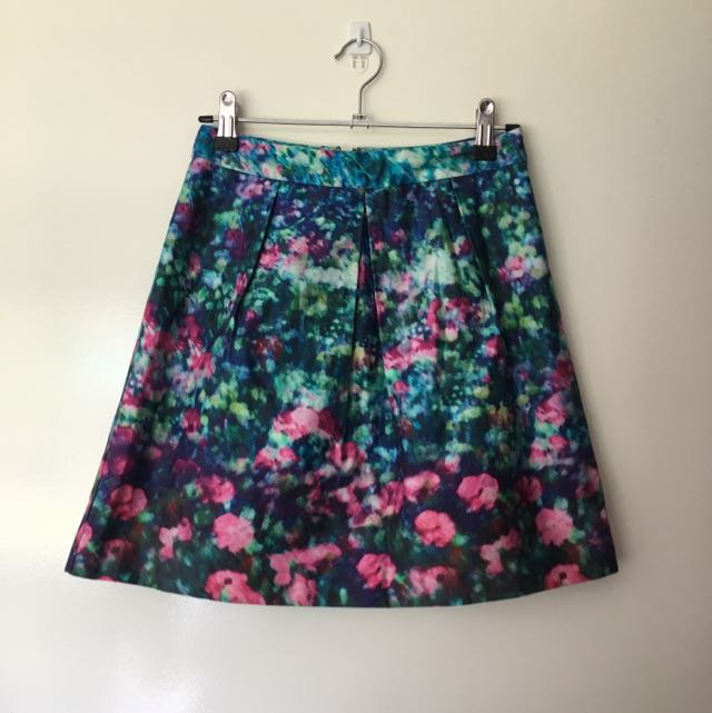 Forever New Floral Pattern A-Line Skirt