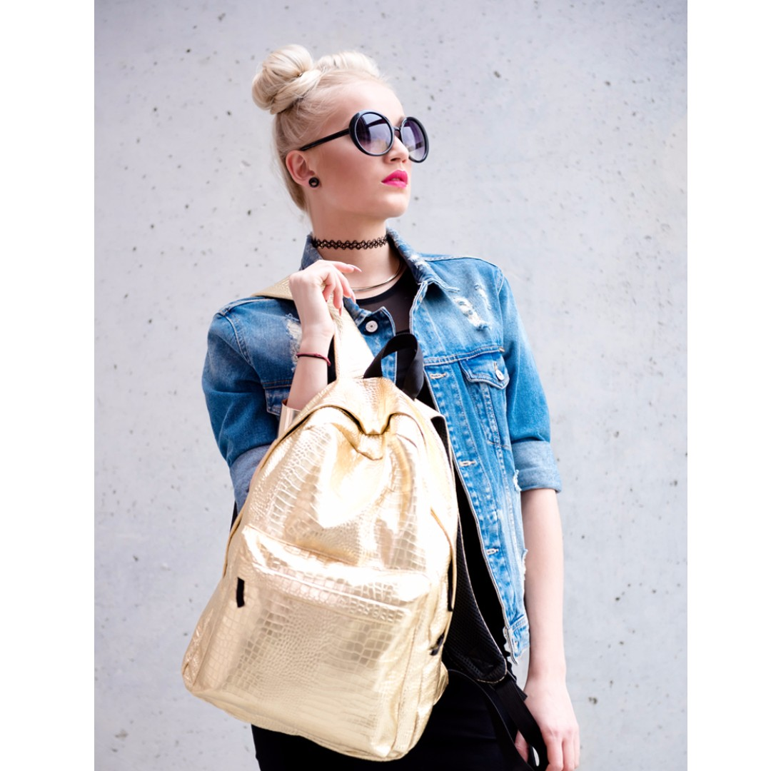 Gold Snake Skin Print Backpack
