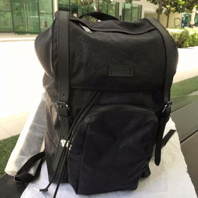 Gucci Stylish Nylon Guccissima Backpack In Black, Luxury