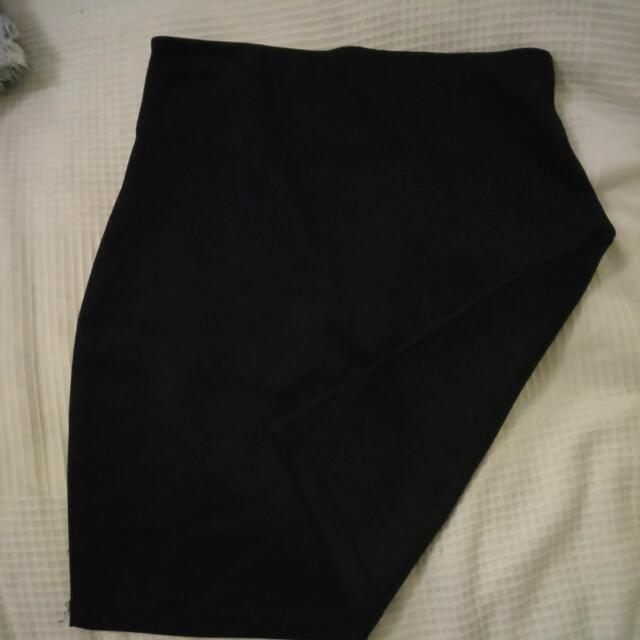 High Waisted Bodycon Scuba Skirt